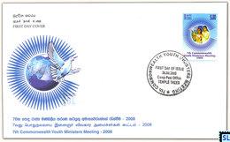 Sri Lanka Stamps 2008, Commonwealth Youth Minister's Meeting, Bird, Pigeon, FDC - Sri Lanka (Ceylon) (1948-...)