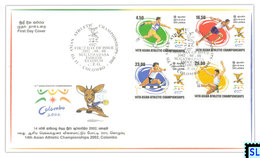 Sri Lanka Stamps 2002, Asian Athletic Championships, Colombo, Sports, FDC - Sri Lanka (Ceylon) (1948-...)
