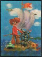 C3831 - 3 D Karte - Wackelbild - Comicfiguren
