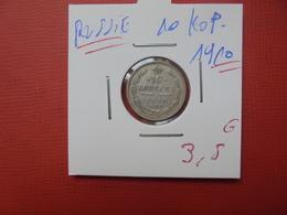 RUSSIE 10 KOPEKS 1910 ARGENT - Russie