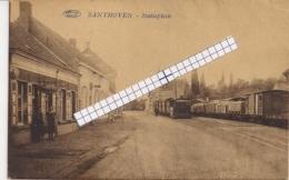 """SANTHOVEN-ZANDHOVEN""""STATIEPLEIN MET 2  STOOMTRAMS -TRAM A VAPEUR """" - Zandhoven"""