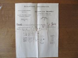 REIMS CHARLES MARY SCULPTURE-DECORATION 6 RUE DE LA TIRELIRE DEVIS DU 14 MAI 1930 - France