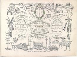 """ANVERS-ANTWERPEN """"VAN DER STRATEN-IJZERWAREN-WAPENS-QUINCAILLERIE-ARMES""""LITH.MESSENS-143/107MM - Cartoline Porcellana"""