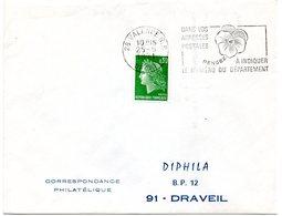 DROME - Dépt N° 26 = VALENCE RP  1971 =  FLAMME Codée à DROITE = SECAP ' PENSEZ à INDIQUER NUMERO DEPARTEMENT ' - Postmark Collection (Covers)