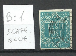 ESTLAND Estonia 1919 Michel 2 Rare Color Hurt & Ojaste B: 1 Schieferblau (slate Blue ) O - Estland