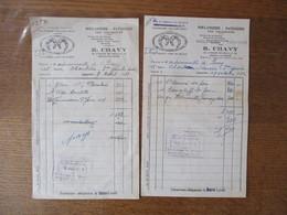 NEUILLY SUR SEINE R. CHAVY BOULANGERIE-PATISSERIE DES CROISSANTS 121 AVENUE DE NEUILLY FACTURES DES 8/4/51 ET 19/10/52 - France