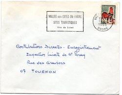 DROME - Dépt N° 26 = VALENCE RP 1966 = Flamme Non Codée = SECAP  'Vallée Côtes Rhone Sites Touristiques Vins De SOLEIL ' - Marcophilie (Lettres)