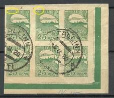 Estland Estonia 1920 Michel 15 Corner 4-block + ERROR Abart O - Estland