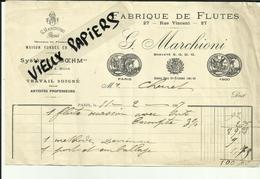 75 - Paris - Facture - Fabrique De Flutes - G.Marchioni -27 Rue Vincent  - 1907..- Réf.34 . - France