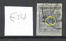 Estland Estonia 1919 Michel 20  E: 4 ERROR Abart Variety O - Estland