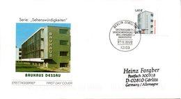 """BRD Schmuck-FDC Freimarken Sehenswürdigkeien1,60€ """"BAUHAUS DESSAU"""", Mi. 2302 ESSt 27.12.2002 BERLIN ZENTRUM - [7] République Fédérale"""