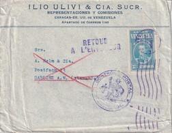 VENEZUELA 1939 LETTRE DE CARACAS POUR GABLONZ ET RTOUR - Venezuela