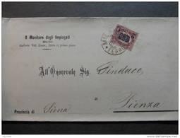 """92 ITALIA Regno-1878- """"Ondine"""" C. 2 Su 5,00 MILANO>PIENZA (descrizione) - 1861-78 Vittorio Emanuele II"""