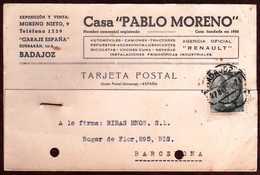 GIROSTAMPS54 - TARJETA COMERCIAL DE GARAJE ESPAÑA CIRCULADA DESDE BADAJOZ A BARCELONA AGENCIA OFICIAL RENAULT - 1951-60 Cartas