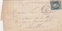 LETTRE. JUILLET 1871. LEROY & DURAND MANUFACTURE BOUGIES SAVONS A GENTILLY. N° 37. PARIS LA MAISON BLANCHE LE HAVRE/5114 - Marcophilie (Lettres)