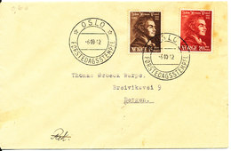 Norway FDC Oslo 6-10-1942 Johan Hermann Wessel Complete Set Of 2 (hinged Marks On The Cover) - FDC