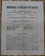 75 PARIS 9e Bulletin De Souscription A LA GRANDE IMPRIMERIE CATHOLIQUE DE FRANCE - 1800 – 1899