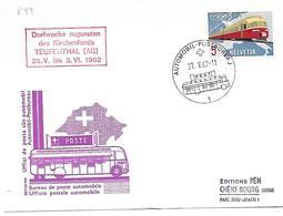 "166 - 59 - Carte Pen Avec Oblit Spéciale ""Dorfwoche Zugunsten Des Kirchenfonds Teufenthal 1962"" - Marcophilie"