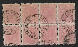 EDIFIL 207 ALFONSO XII. 1879 (BLOQUE DE 8). MATASELLOS ESTAFETA DEL ESTE (MADRID). 01-06-1889. LUJO. - Usados
