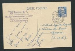 Yvert   Entier 812 - CP1  Oblitéré Paris 26 R. Faubourg St Denis , Fev 1951 -qaa 5713 - 1945-54 Marianne De Gandon