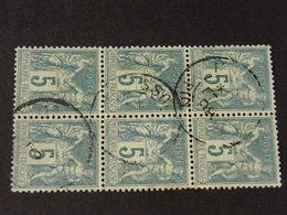 Sage Type 2 En Bloc De 6  Obli - 1876-1898 Sage (Type II)