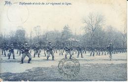 Ath - Esplanade Et école Du 11e Régiment De Ligne (top Animation, 1909, Mottrie Soeurs) - Ath