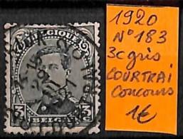 [830965]Belgique 1920 - N° 183, 3c Gris, Courtrai, Obl Concours, Familles Royales, Rois - 1915-1920 Albert I