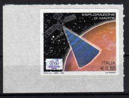 Italia 2005 Esplorazione Di Marte Singolo Con Scritte In Rosa Varietà MNH - Abarten Und Kuriositäten