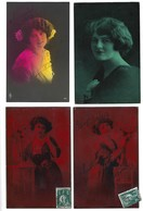 4 Postais Fotograficos Enviados Para RUA Dos CLERIGOS / PORTO. Set Of 4 Photo Postcards WOMAN Color Pre POP ART - Women