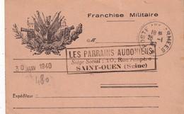 FRANCE 1940 CARTE DE FRANCHISE MILITAIRE - Tarjetas De Franquicia Militare