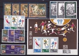 MALTA 1978 4 Different MNH Sets From 1976 + B 5 Mi. 562 / 568 - 571 / 573 - 580 / 853 - B 5 - Malta
