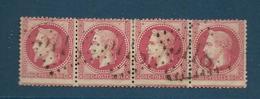 Timbres Oblitérés France ,  N°32a Yt,80 C Rose Carminé  , Louis Napoléon, 1867 Empire, Charnière Au Dos, Bande De 4 - 1863-1870 Napoléon III Lauré