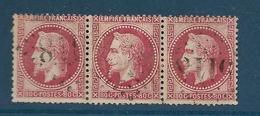 Timbres Oblitérés France ,  N°32a Yt,80 C Rose Carminé  , Louis Napoléon, 1867 Empire, Charnière Au Dos, Bande De 3 - 1863-1870 Napoleon III With Laurels