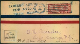 "1928, Air Mail ""CORREO AERO POR AVIO ""Santa Maria"" To East Orange, New Jersey - Signed By Pilot - Dominicaine (République)"