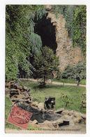 PARIS 19° --La Grotte Des Buttes Chaumont  (petite Animation) --carte Colorisée  -- Timbre --cachet  PARIS 58 - Arrondissement: 19