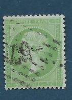 Timbres Oblitérés France ,  N°35 Yt,5 C Vert Pâle Sur Bleu  , Napoléon III, 1871 Empire, Charnière Au Dos, - 1862 Napoleon III