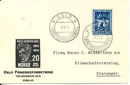 Norway Card FDC Oslo 16-5-1941 Niels Henrik Abel - FDC