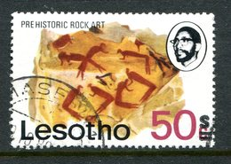 Lesotho 1980-81 New Currency - Typo Overprint - No Wmk. - 50s On 50c Rock Art Used (SG 414A) - Lesotho (1966-...)