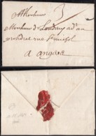 """France 1664 - Lettre Avec Courrier Particulaire 10/12/1664 De Paris Pour Angers Taxe """"3"""" (7G34626)DC2605 - Postmark Collection (Covers)"""