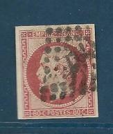 Timbres Oblitérés France ,  N°17A Yt, 80 C Carmin, Napoléon III, 1854 Empire, Charnière Au Dos, Losange - 1853-1860 Napoleone III