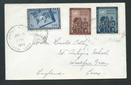 Lsc Afranchie Pour L'angleterre Oblitérée En Juin 1955, United Nations New York - Qaa5817 - Lettres & Documents
