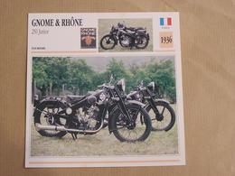 GNOME & RHÔNE 250 Junior France 1936 Moto Fiche Descriptive Motocyclette Motos Motorcycle Moto Motocyclette - Sammelkarten, Lernkarten