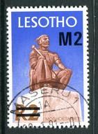 Lesotho 1980-81 New Currency - Litho Overprint - No Wmk. - 2m On 2r Moshoeshoe I Statue Used (SG 417B) - Lesotho (1966-...)