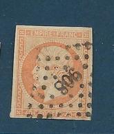 Timbres Oblitérés France ,  N°16 Yt, 40 C Orange, Louis Napoléon, 1853 République, Charnière Au Dos, Losange Chiffre 908 - 1853-1860 Napoleon III