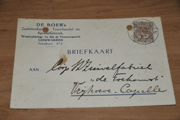 22-     BEDRIJFSKAART, DE BOER, ZADELMAKERIJ, TOUWHANDEL EN BORSTELFABRIEK, LEEUWARDEN - 1924 - Kaarten