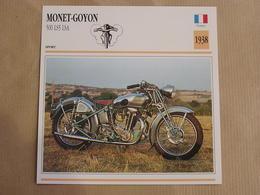 MONET-GOYON 500 LS5 LSA France 1938 Moto Fiche Descriptive Motocyclette Motos Motorcycle Moto Motocyclette - Sammelkarten, Lernkarten