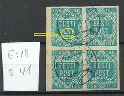 Estland Estonia 1919 Michel 2 Als 4-Block Incl ERROR Abart E: 23 O - Estland