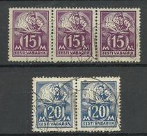 ESTLAND Estonia 1925 Michel 58 - 59 As Stripes O - Estonia