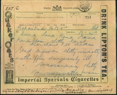 1927, Telegram From KALAIKINDI Advertising Cigarettes,tea, Times Of India, Insurance, Cinema, Cloths, Kerosene, Radio .. - India