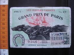 LOTERIE NATIONALE Billet GUEULES CASSEES Aveugle Ampute Trepane Invalides GUERRE CHEVAL GRAND PRIX DE PARIS 1963 - Billetes De Lotería
